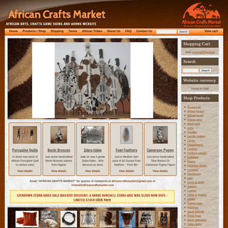 AFRICAN CRAFTS MARKET- African handcrafted arts, crafts, skins and horns