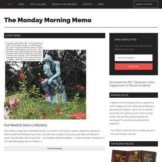 The Monday Morning Memo