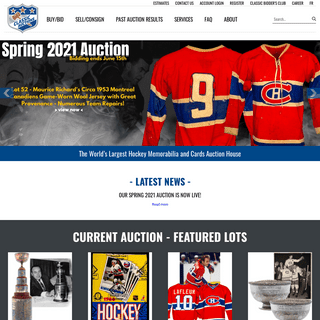 Classic Auctions - Hockey Memorabilia and Sports Cards