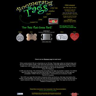 Boomerang Pet Tags- Guaranteed to last. Mailed today, Free Shipping.