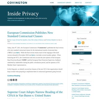 Inside Privacy - Inside Privacy - Covington & Burling LLP - Updates on Data Security & Electronic Communications