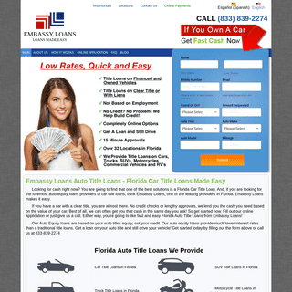 Auto Title Loans in Florida, Car Title Loans Made Easy - Embassy Loans
