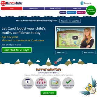The Maths Factor - Homepage - make Carol Vorderman your child`s online maths tutor