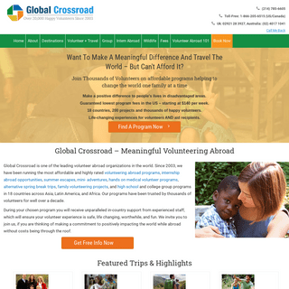 Volunteer Abroad Starts $140- Trusted By Thousands Since 2003 - Global Crossroad