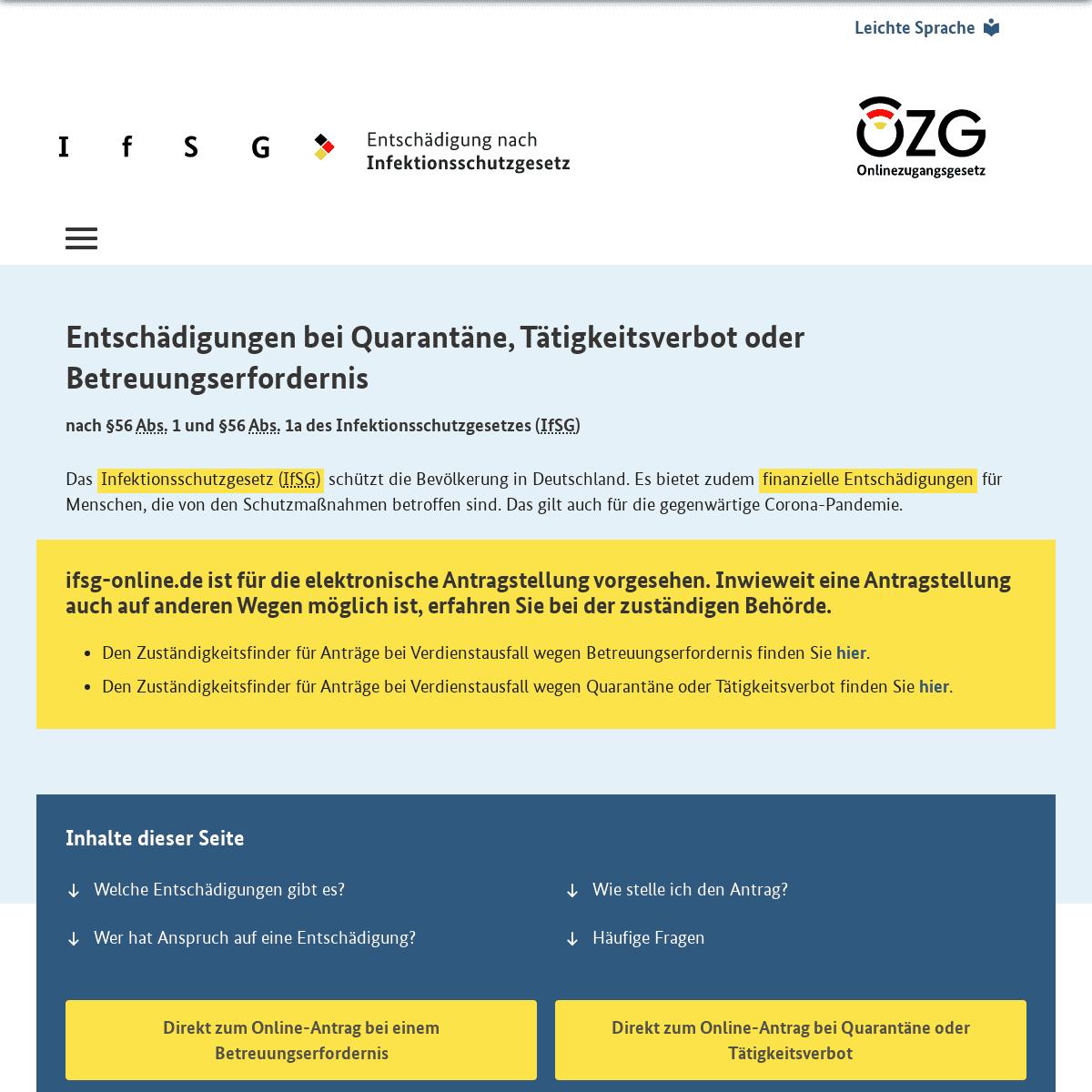 Infoportal IfSG – Startseite
