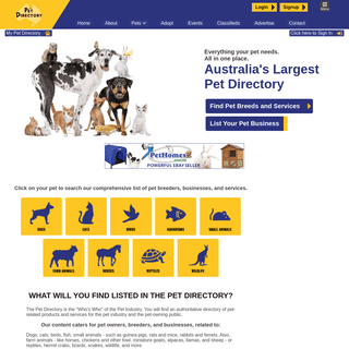 The Pet Directory Australia- World`s largest online pet directory. Pets - Pet Products - Pet Services - Dogs Cats Horses Birds R