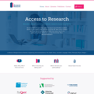 Access To Research - Academic articles for free at participating local libraries