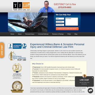 Scranton & Wilkes Barre Personal Injury & Criminal Defense Lawyer - Todd Johns Law, LLC
