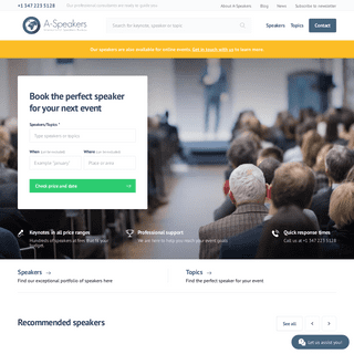 Speakers and Keynotes - Easy booking at A-Speakers.com