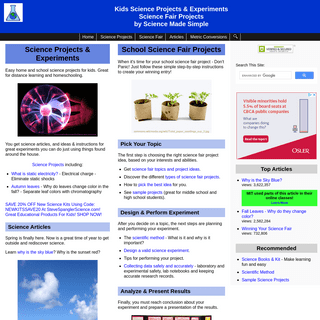 Science Projects and Articles by Science Made Simple - Science Fair Projects - Easy kids Science Experiments