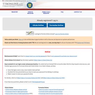 TTB Online - Welcome to TTB Online