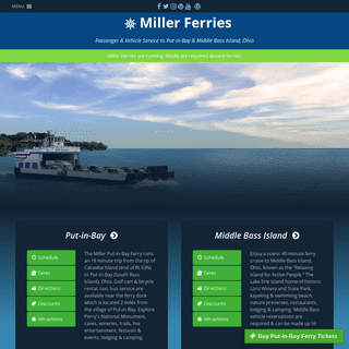 Miller Ferry - Miller Passenger & Vehicle Ferries to Put-in-Bay (South Bass Island) & Middle Bass Island from Catawba, Ohio
