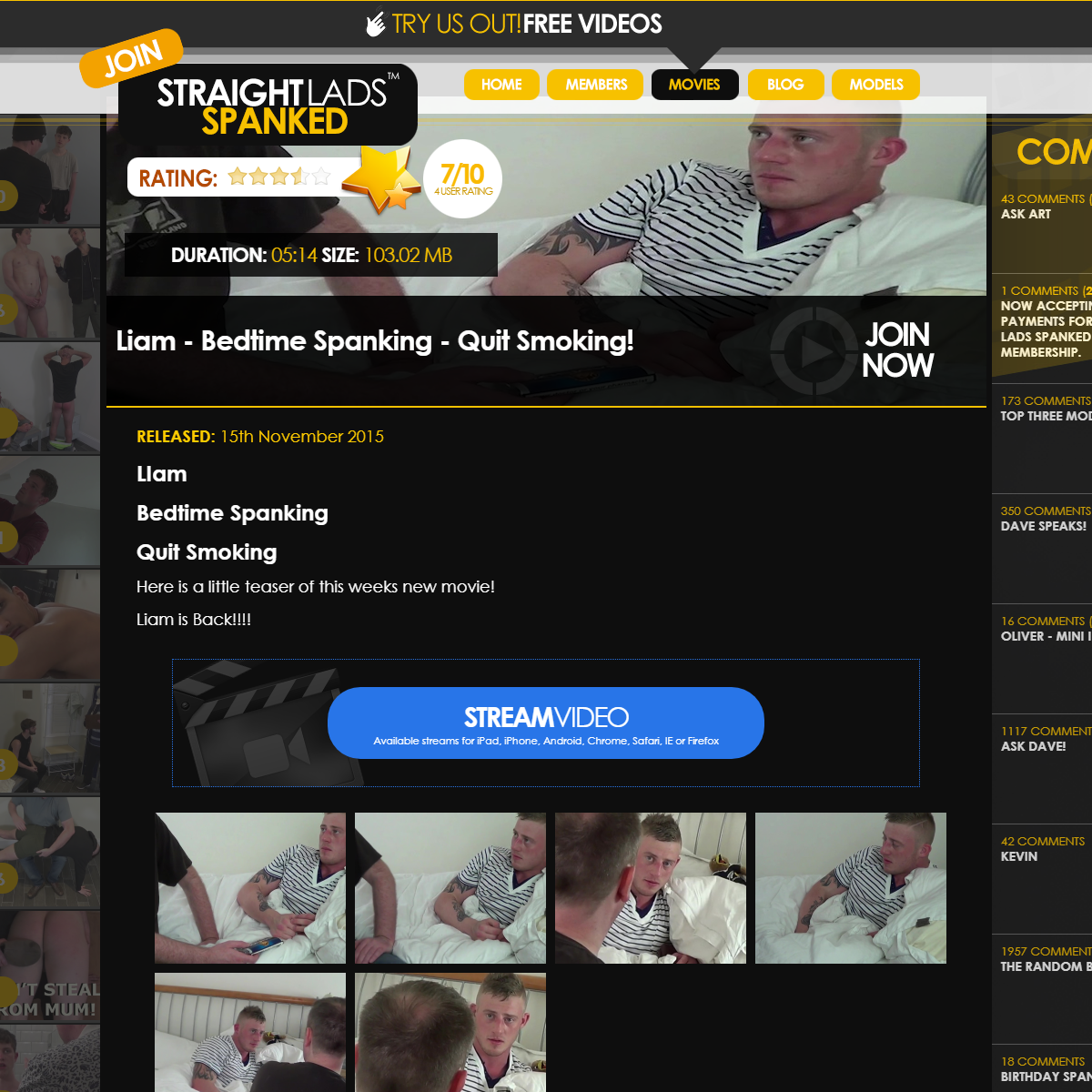 Liam - Bedtime Spanking - Quit Smoking! - Straight Lads Spanked