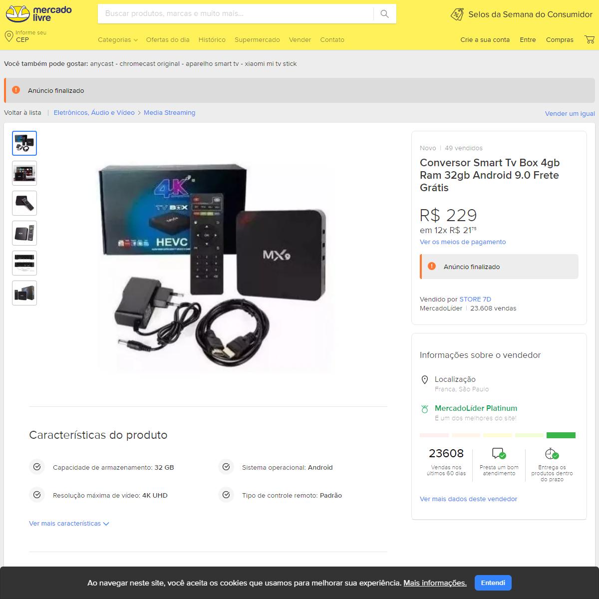Conversor Smart Tv Box 4gb Ram 32gb Android 9.0 Frete Grátis - Mercado Livre