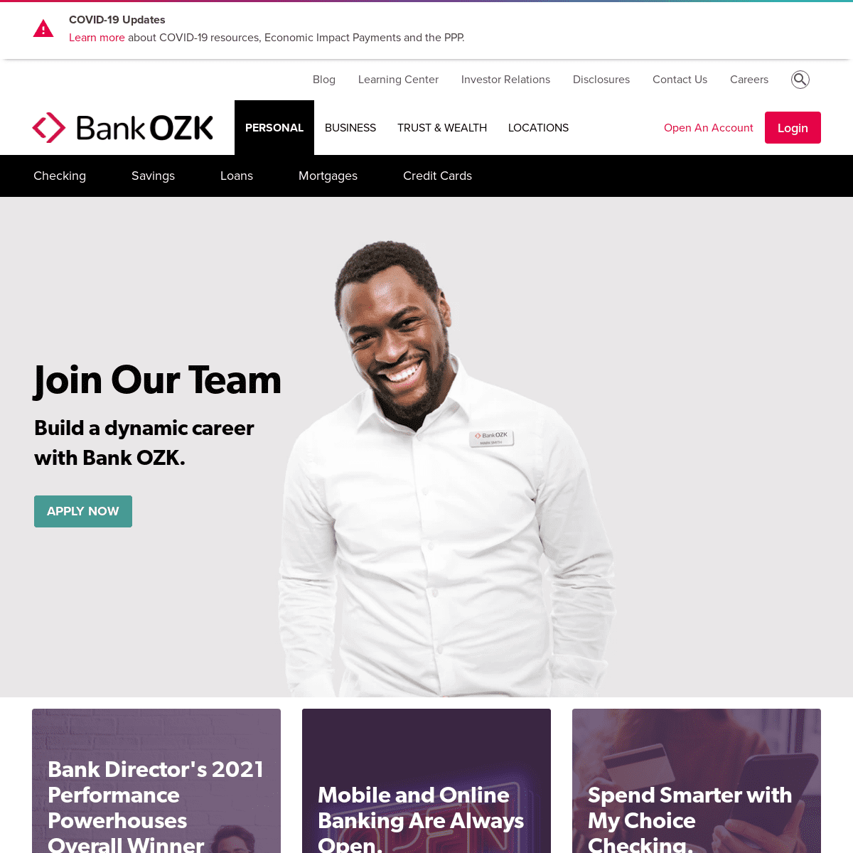 Bank OZK- Personal Banking & Account Services