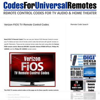 Verizon FiOS TV Remote Control Codes - Codes For Universal Remotes