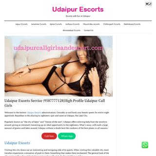 Udaipur Escorts Service -9587777128-High Profile Udaipur Call Girls