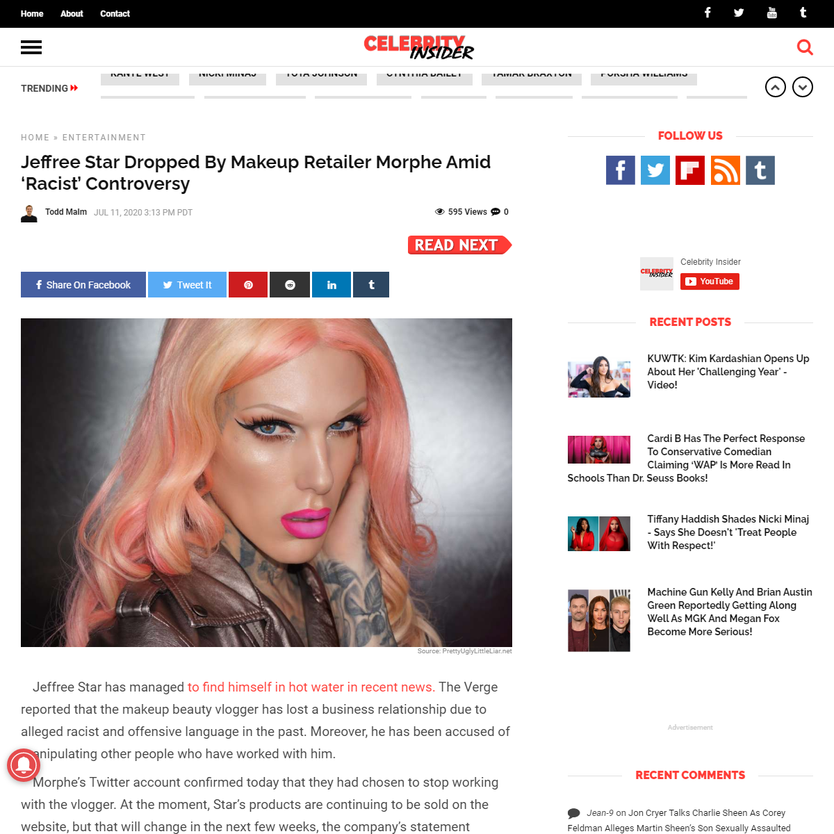Jeffree Star Dropped By Makeup Retailer Morphe Amid 'Racist' Controversy - Celebrity Insider