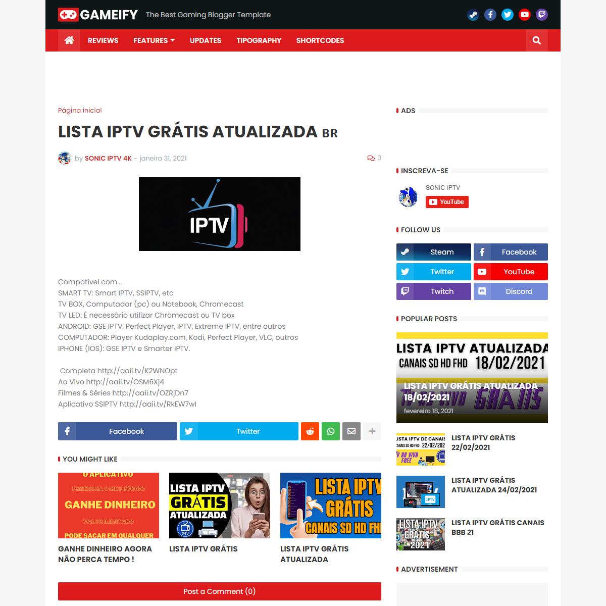 LISTA IPTV GRÁTIS ATUALIZADA 🇧🇷