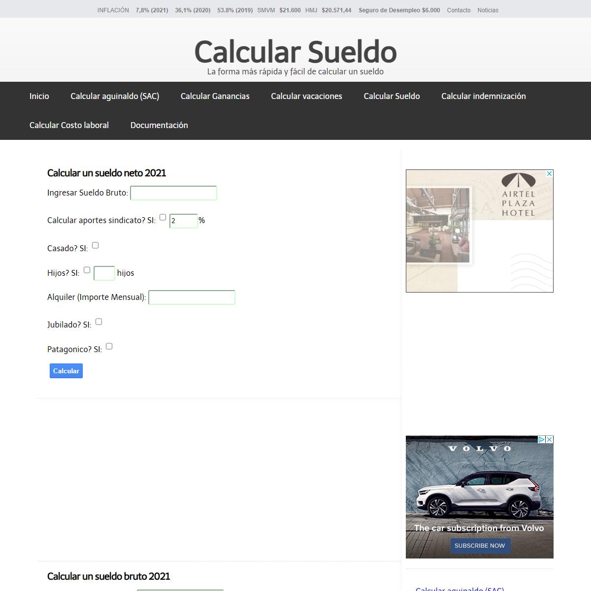 Calcular Sueldo - Neto - Bruto - Argentina