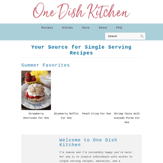 Your Source for Single Serving Recipes - One Dish Kitchen