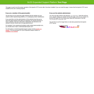 Test Page for the Apache HTTP Server on SLES Expanded Support Platform
