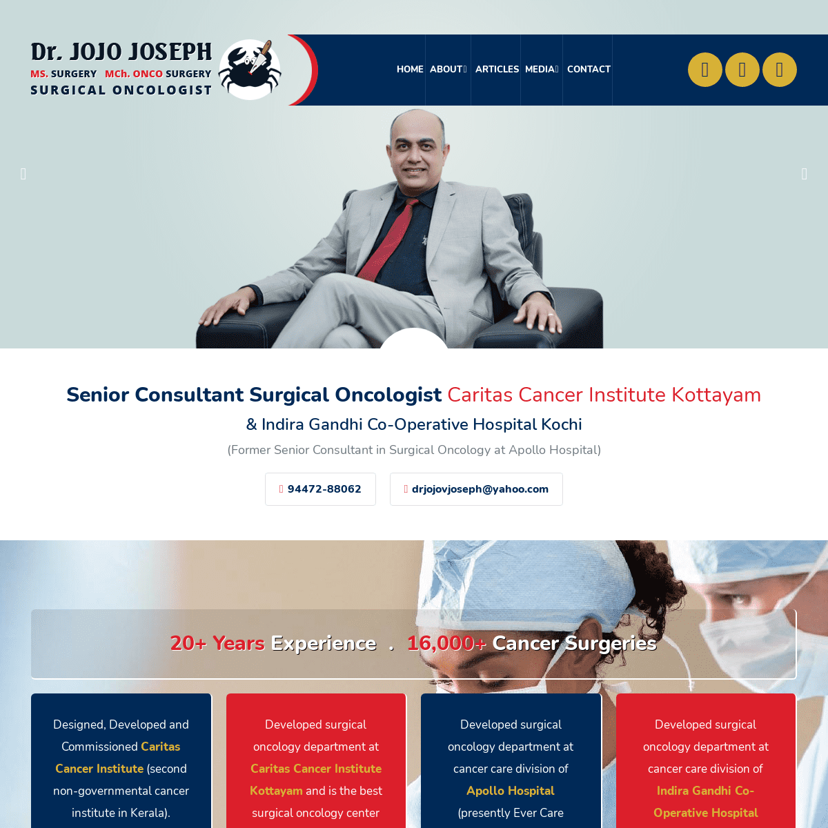 Dr. Jojo Joseph - MS. Surgery, MCh. ONCO Surgery