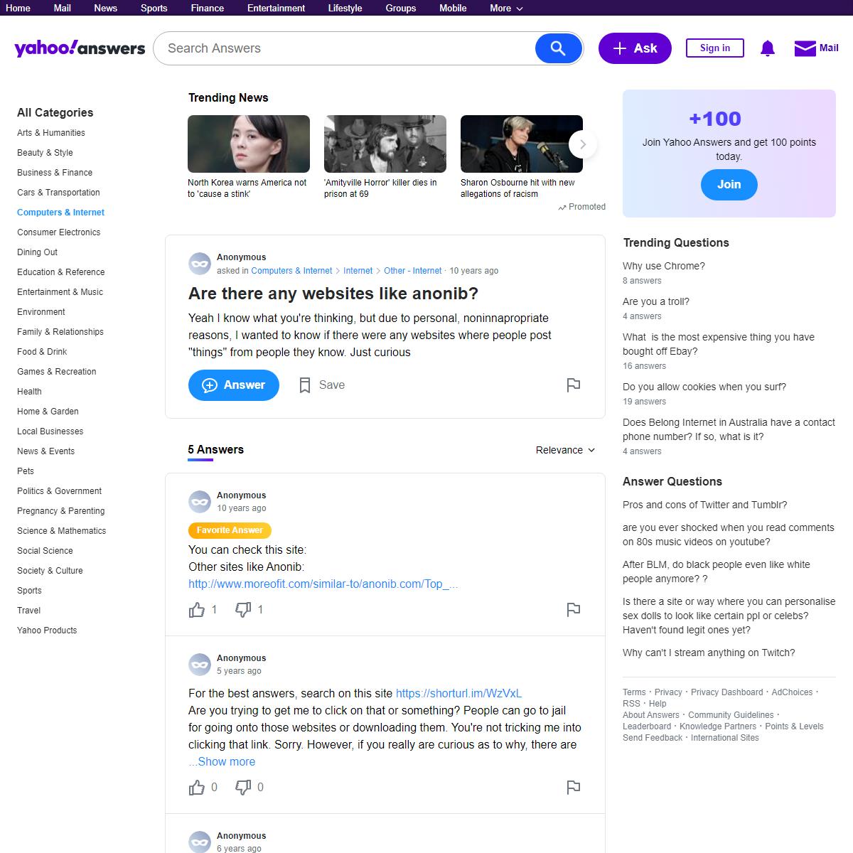 Are there any websites like anonib- - Yahoo Answers