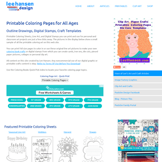 Printable Coloring Pages, Drawings, Line Art, Digital Stamps
