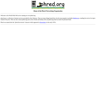 www.phred.org Home Page