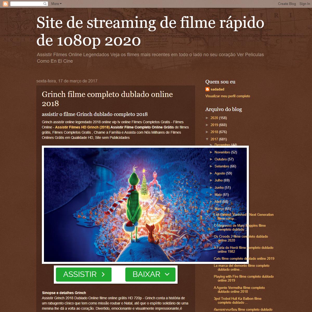 Site de streaming de filme rápido de 1080p 2020- Grinch filme completo dublado online 2018