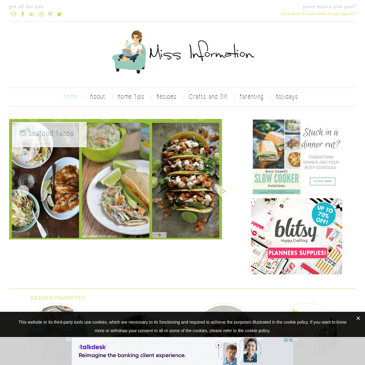 Miss Information - Miss Information is a lifestyle blog making your life easier with easy recipes, home tips for cleaning and or
