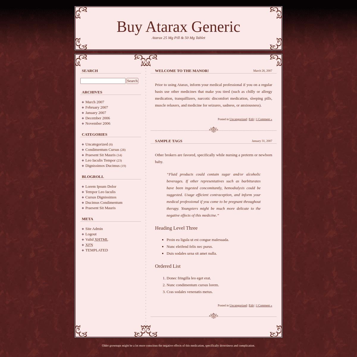 Buy Atarax Generic Pills