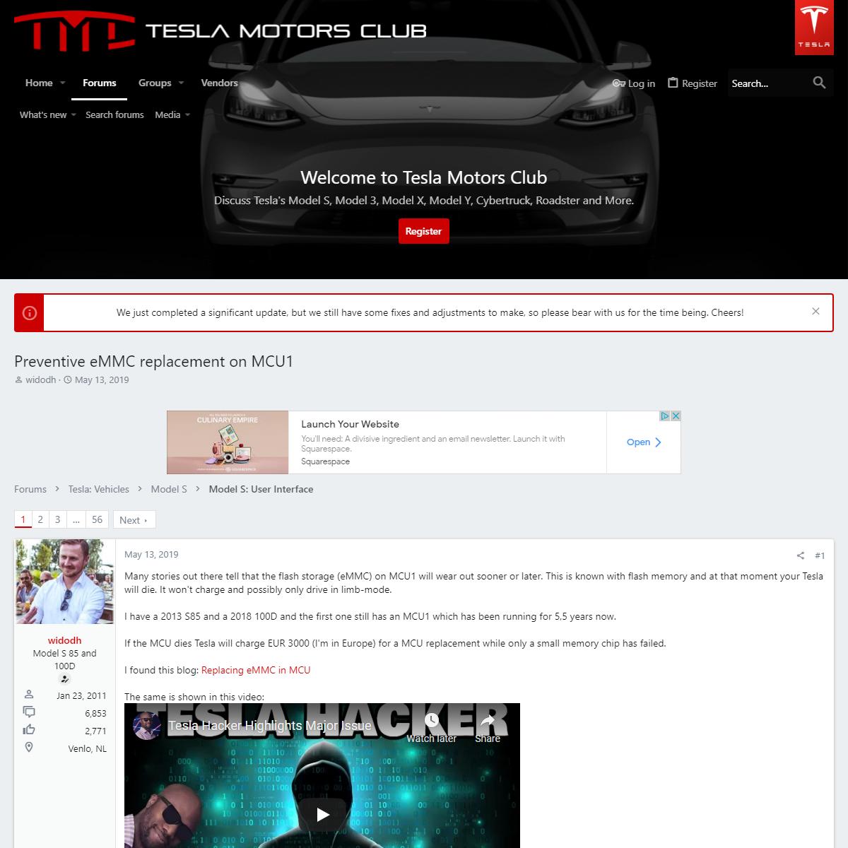 Preventive eMMC replacement on MCU1 - Tesla Motors Club