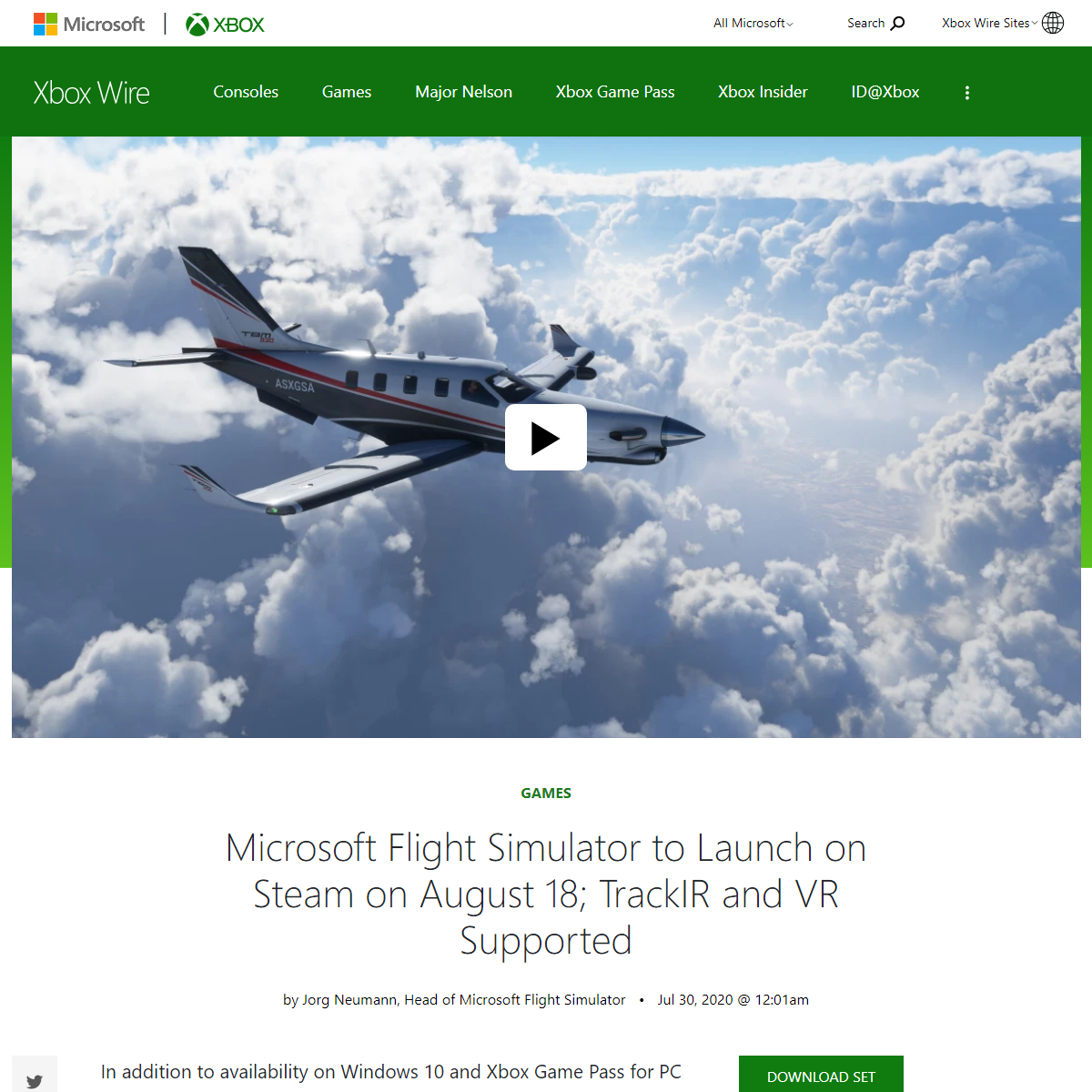 Microsoft Flight Simulator to Launch on Steam on August 18; TrackIR and VR Supported - Xbox Wire