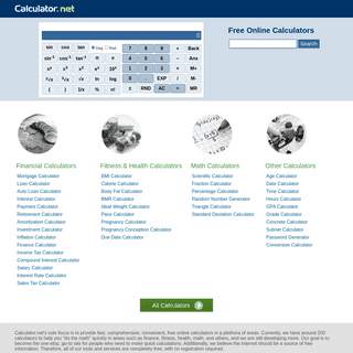 Calculator.net- Free Online Calculators - Math, Fitness, Finance, Science