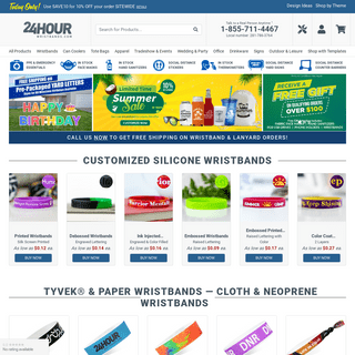 Wristbands - Buy Custom Rubber Bracelets, Silicone Wristbands and other Promotional Products - 24HourWristbands.Com