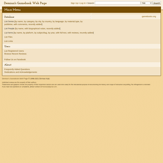 Main Menu - Demian`s Gamebook Web Page