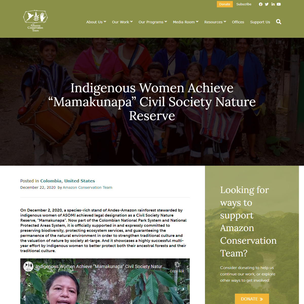 "Indigenous Women Achieve ""Mamakunapa"" Civil Society Nature Reserve - Amazon Conservation Team"