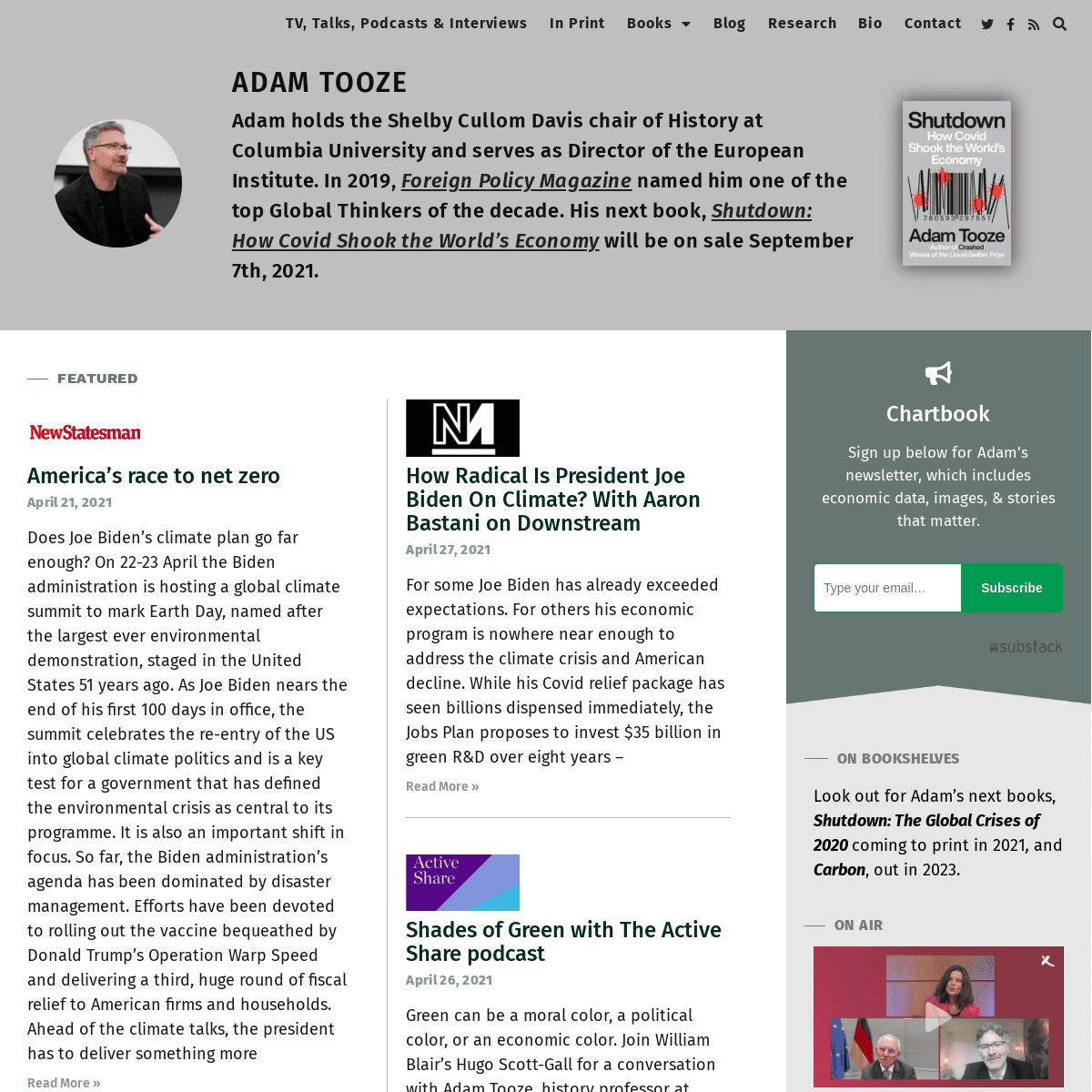 ADAM TOOZE – Historian – Author – Critic – Blogger