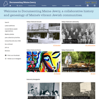 A collaborative history and genealogy of Maine`s Jewish communities - Documenting Maine Jewry