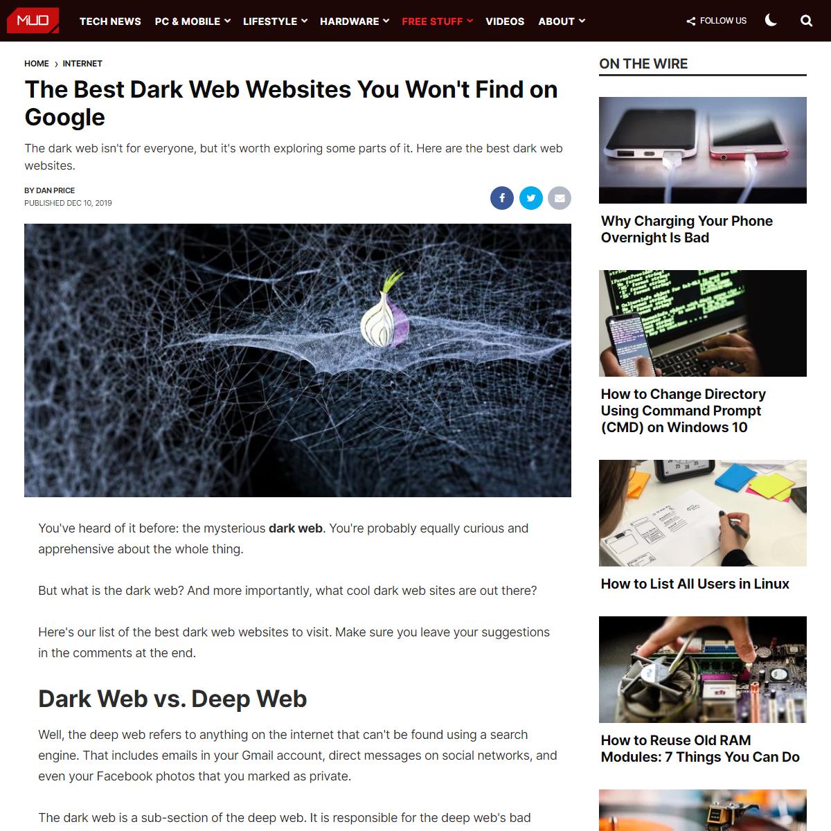 The Best Dark Web Websites You Won`t Find on Google