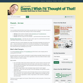 Andy Sernovitz - Damn, I Wish I`d Thought of That! - Unusually useful ideas for smart marketers.