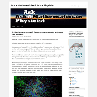 Ask a Mathematician - Ask a Physicist - Your Math and Physics Questions Answered