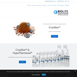 BioLife Solutions - Biopreservation Tools for Regenerative Medicine