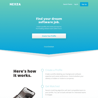 Nexza - Confidentially find software development jobs with top companies
