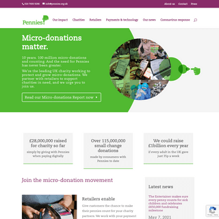 Pennies - Micro-donations matter - The digital charity box