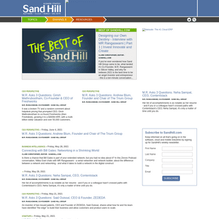 Sandhill - Business Strategy for Software, Cloud and Mobile.