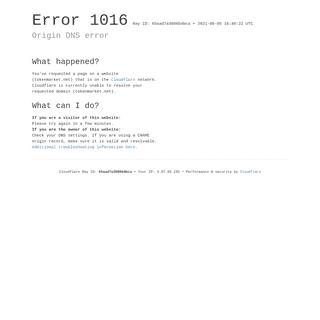 Origin DNS error - tokenmarket.net - Cloudflare