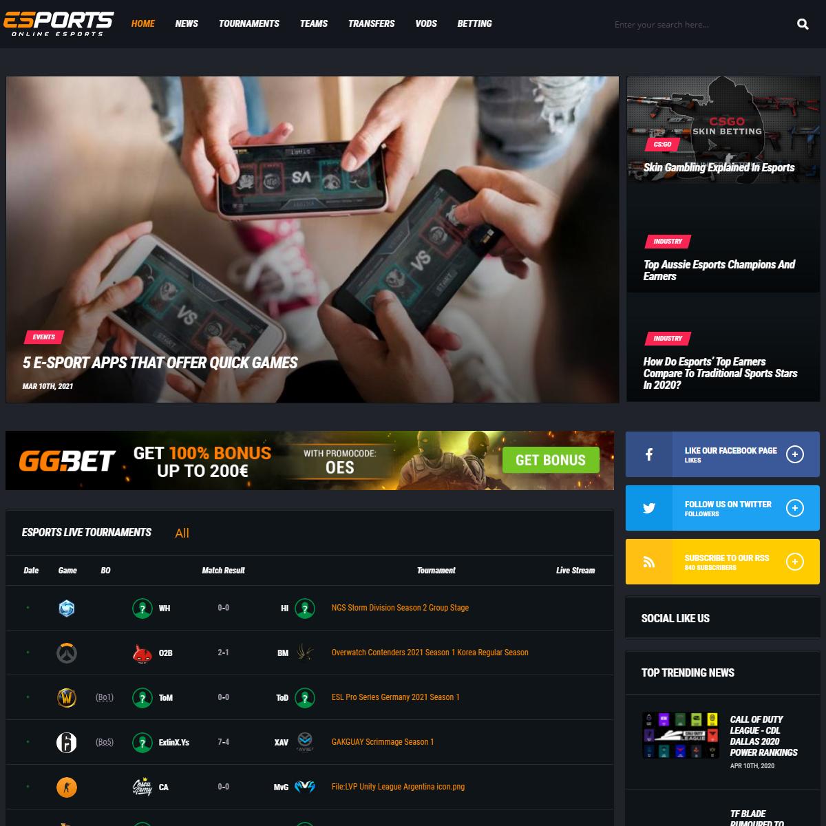 Esports Tournaments - Live Scores, VODS, LOL, Dota 2 Games- OnlineeSports.com
